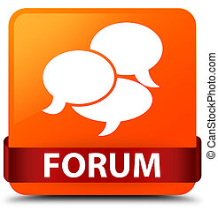 Forum (comments icon) orange square button red ribbon in middle