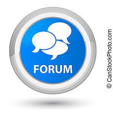 Forum (comments icon) prime cyan blue round button