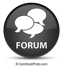Forum (comments icon) special black round button
