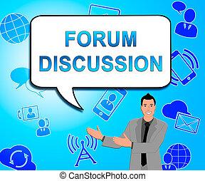 forum, dyskusja, ilustracja, współposiadanie, pokaz, rozmowa, 3d