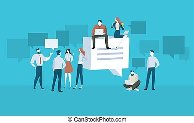 Forum - Flat design people and technology concept. Vector...