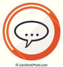 Forum flat design vector web icon. Round orange internet button isolated on white background.