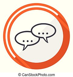 Forum flat design vector web icon. Round orange internet button isolated on white background.