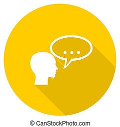 forum flat design yellow web icon