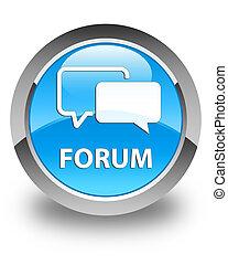 Forum glossy cyan blue round button