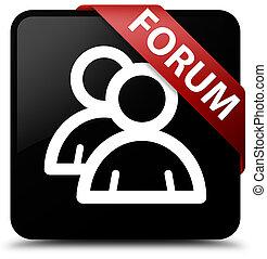 Forum (group icon) black square button red ribbon in corner