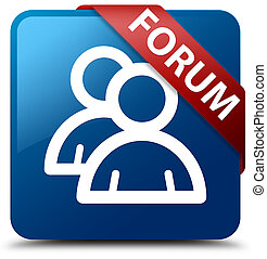 Forum (group icon) blue square button red ribbon in corner