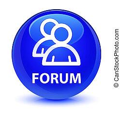 Forum (group icon) glassy blue round button