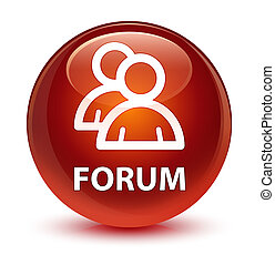 Forum (group icon) glassy brown round button
