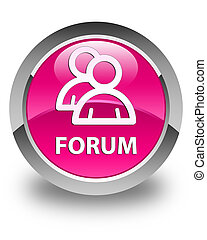 Forum (group icon) glossy pink round button