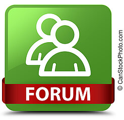 Forum (group icon) soft green square button red ribbon in middle