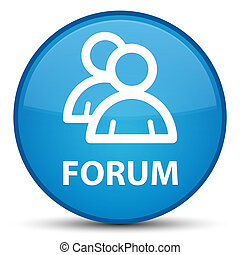 Forum (group icon) special cyan blue round button