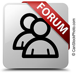 Forum (group icon) white square button red ribbon in corner