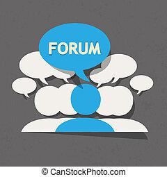 forum, groupe, à, bulle discours