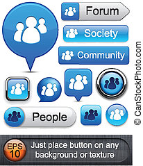 Forum high-detailed modern buttons. - People web blue...