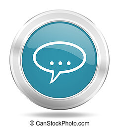 forum icon, blue round glossy metallic button, web and mobile app design illustration