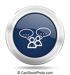 forum icon, dark blue round metallic internet button, web and mobile app illustration