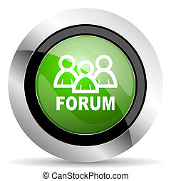 forum icon, green button