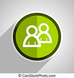 forum icon, green circle flat design internet button, web and mobile app illustration