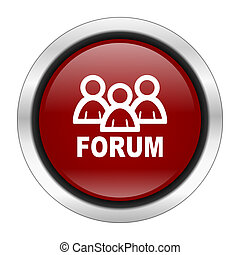 forum icon, red round button isolated on white background, web design illustration