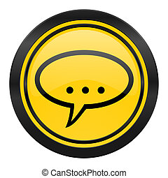 forum icon, yellow logo, chat symbol, bubble sign