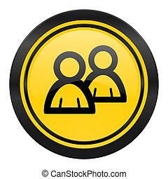 forum icon, yellow logo, people sign