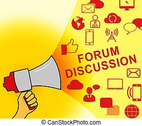 forum, ikony, dyskusja, ilustracja, współposiadanie, reprezentujący, 3d
