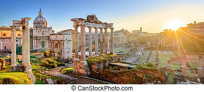Forum in Rome, Italy. Roman Forum, Foro Romano, at sunrise. Rome architecture and landmark. Ancient Forum in Rome is one of the main attractions of Rome and Italy.