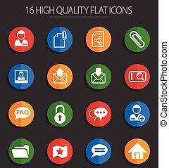 forum, interface, 16, plat, icônes