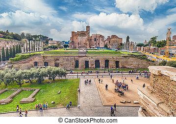 forum, italien, römisches , luftaufnahmen, venus, tempel, ansicht