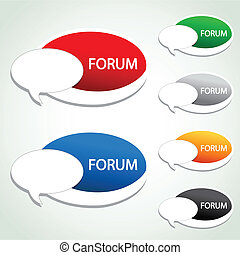 forum, menu, sticker, -, artikel, vector, ovaal