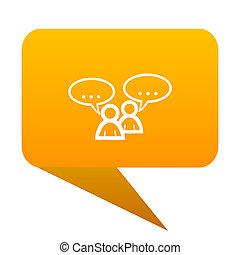 forum orange bulb web icon isolated.