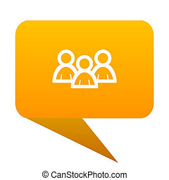 Forum orange bulb web icon isolated.