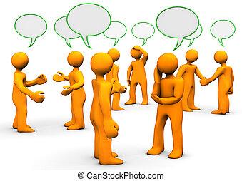 Orange cartoons with green speak bubbles, on white background.
