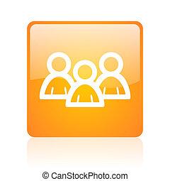forum orange square glossy web icon