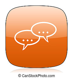forum orange square web design glossy icon
