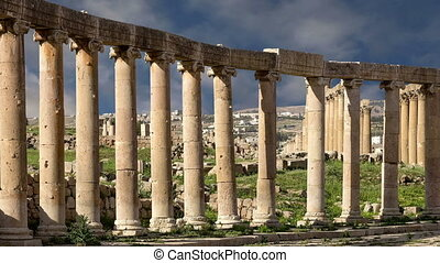 Forum (Oval Plaza)  in Gerasa (Jerash), Jordan.  Forum is an asymmetric plaza at the beginning of the Colonnaded Street, which was built in the first century AD