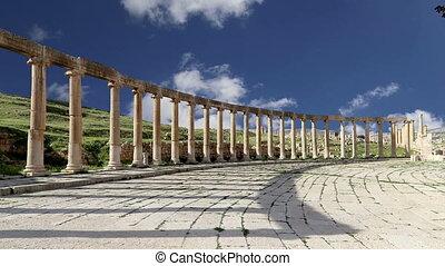 Forum (Oval Plaza) in Gerasa (Jerash), Jordan. ?Forum is an...