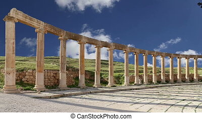 Forum (Oval Plaza) in Gerasa (Jerash), Jordan. ?Forum is an...