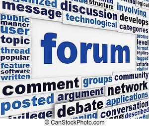 Forum poster conceptual design. Online public discussion message background