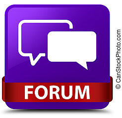 Forum purple square button red ribbon in middle