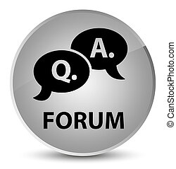 Forum (question answer bubble icon) elegant white round button