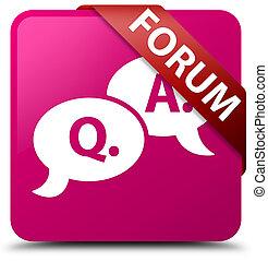 Forum (question answer bubble icon) pink square button red ribbon in corner