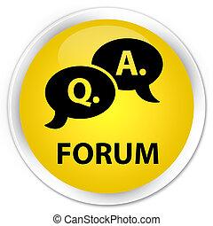 Forum (question answer bubble icon) premium yellow round button