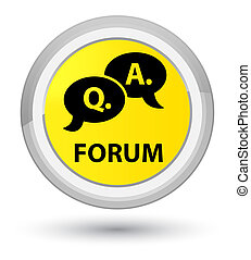 Forum (question answer bubble icon) prime yellow round button