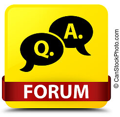 Forum (question answer bubble icon) yellow square button red ribbon in middle