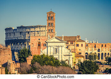 Forum romanum at sunset - View on forum romanum and...