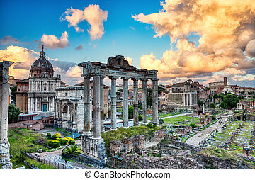 Forum Romanum Illuminated by Colorful Sunset with Bright Clouds, Rome