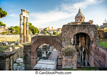Forum Romanum view from the Capitoline Hill in Italy, Rome. ...