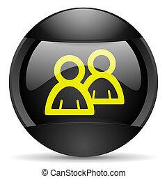 forum round black web icon on white background
